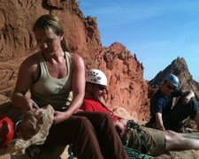 Rock Climbing Photo: Jenn and company atop the airy and scorchingly sun...