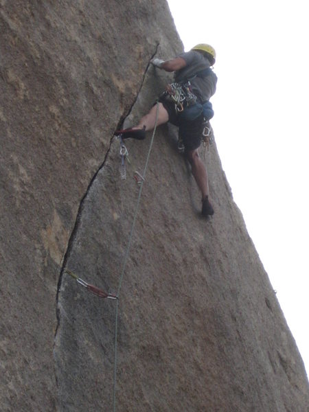 Gear placement below the crux section of thin fingers.