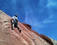 Rock Climbing Photo: John, looking for a friend above the bolt on P2 of...