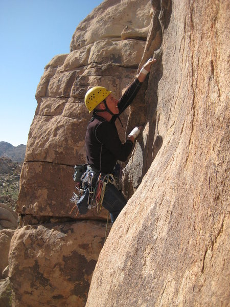 Rock Climbing Photo: The wind was howling and the entry to the thin cra...