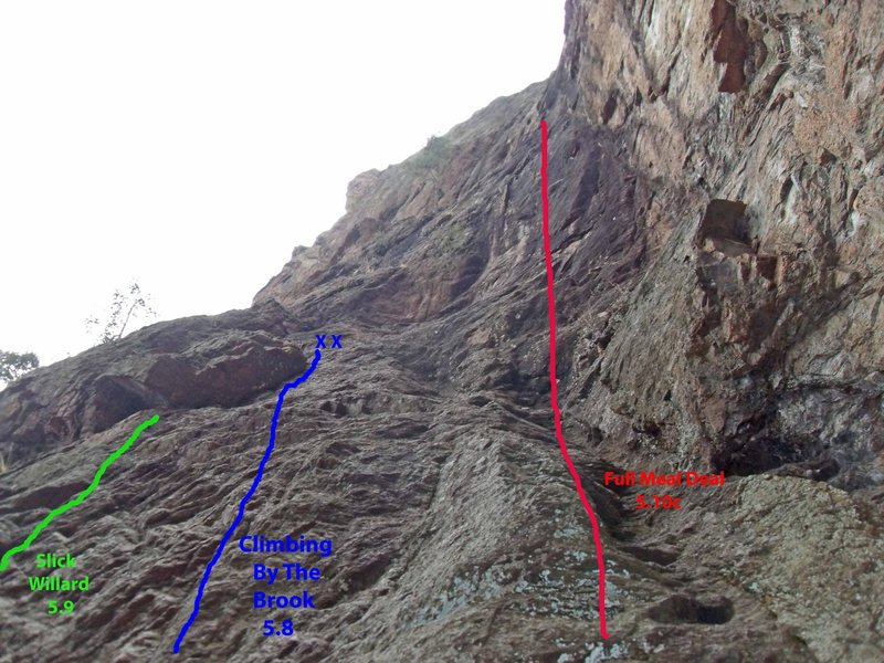 Photo shows the relative location of three routes from left to right:  Slick Willard, Full Meal, and Climbing By the Brooks.