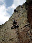 Rock Climbing Photo: Scott F. filming me on Bailey.