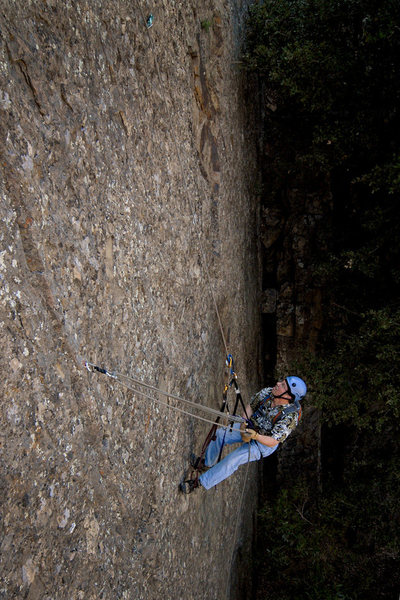 Rock Climbing Photo: David practices lowering out, on a fixed line at P...