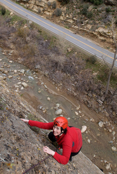 Erica nears the top of the first pitch of Half Ascent on a cool February day at Sespe Gorge.