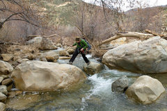 Rock Climbing Photo: Erica crosses Sespe creek during the high waters o...
