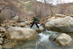 Rock Climbing Photo: Erica crosses Sespe creek during the high waters o...