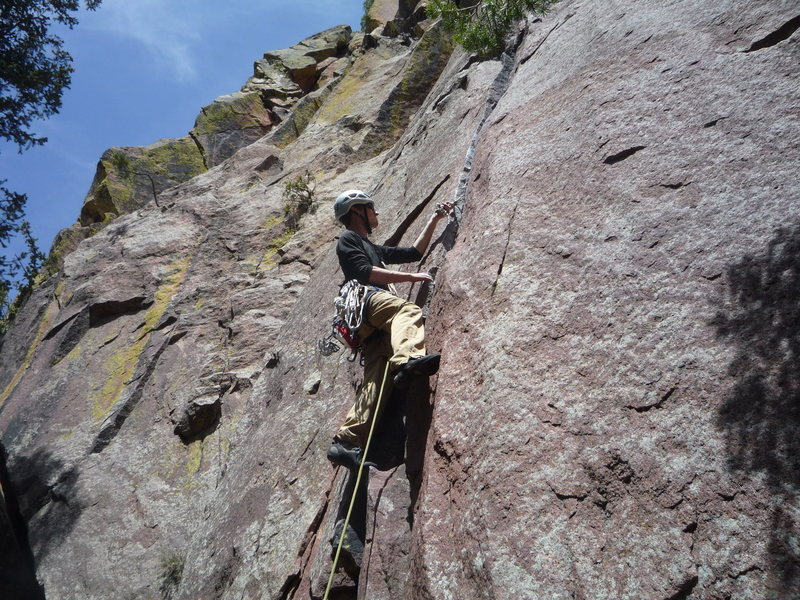 Setting pro at the 1st pitch crux.