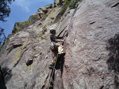 Rock Climbing Photo: Setting pro at the 1st pitch crux.