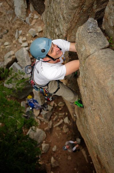 Rock Climbing Photo: Aaron elbows deep in Huston Crack.