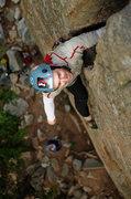 Rock Climbing Photo: Chris firing Huston Crack.
