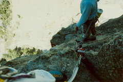 Rock Climbing Photo: The cool belay spot. After the crux and some 5.9 y...