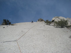 Rock Climbing Photo: Thomas on final link. Beautiful pitch!