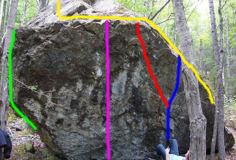 Photo of the Entire Frostbite Boulder<br> Green Finger on the Trigger V7<br> Magenta Project(V10ish)<br> Red (starts same as blue) White Fang V8<br> Blue Steady Diet of Frostbite V5<br> Yellow Lip Service V2+<br>