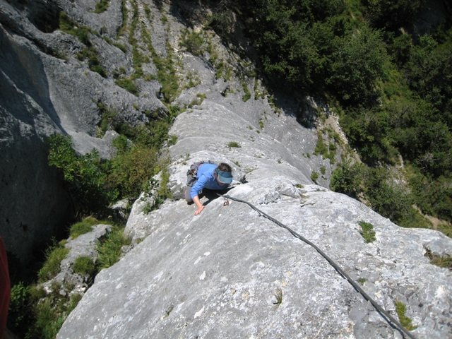 Carol coming up the first pitch of Pilier Gris.