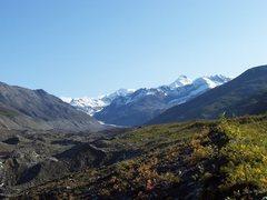 Rock Climbing Photo: Castner Glacier, Black Cap is main peak in the pho...