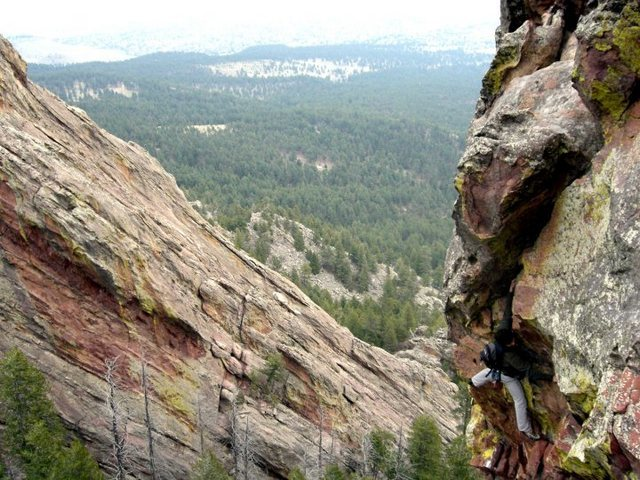 Rock Climbing Photo: Beginning the airy crux just before the pine tree ...