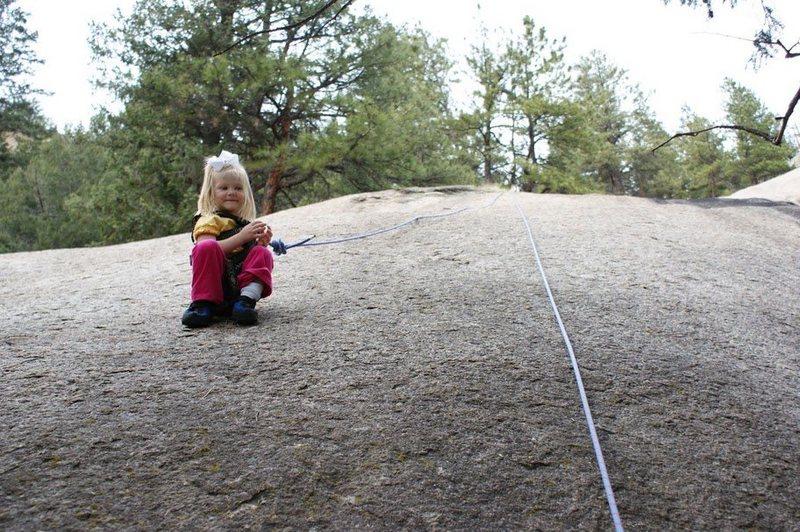 Rock Climbing Photo: Lily taking a break on Easy Listening.