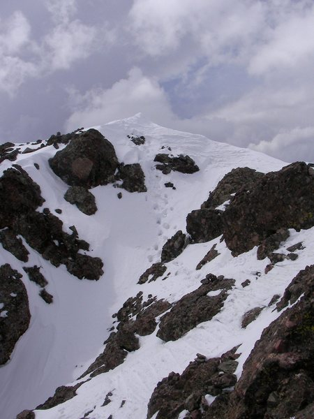 Summit of Crestone Needle.  My boot pack in the center and my ski tracks on the right...