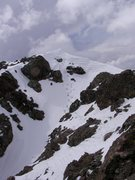 Rock Climbing Photo: Summit of Crestone Needle.  My boot pack in the ce...