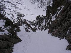 Rock Climbing Photo: Crestone Needle.  The ski line gets a little narro...