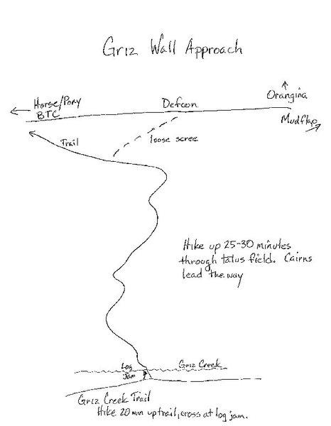 Rock Climbing Photo: Approach drawing.