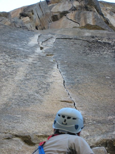 Rock Climbing Photo: looking up the 11c crack right off the halfway led...