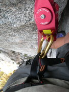 Rock Climbing Photo: looking down the wong climb, with my trusty silent...
