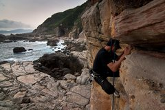 Rock Climbing Photo: Morris Chen trying not to take a fu**ing fall on F...