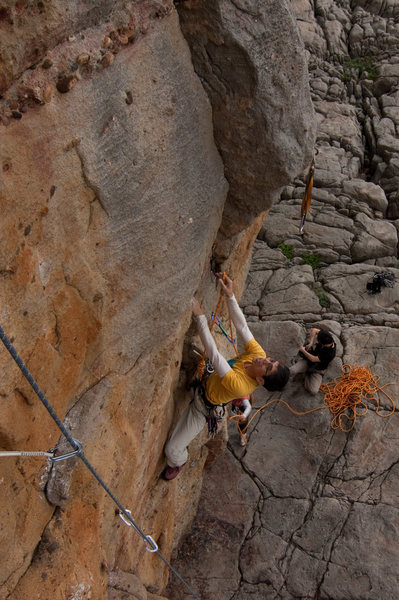 Rock Climbing Photo: Milk about to launch into the crux of Finger Crack...