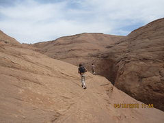 Rock Climbing Photo: After a little sketchy, sandy, soft, loose slab cl...