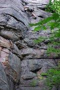 Rock Climbing Photo: Evan Kennedy climbing just past the crux on Granfe...