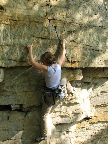 Rock Climbing Photo: Heather Sudlow bearing down on some crimps at the ...
