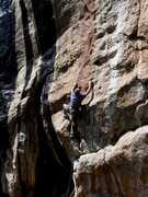 Rock Climbing Photo: Keith Beckley moving into the rather long crux sec...