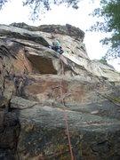 Rock Climbing Photo: Rhoads right before the crux.
