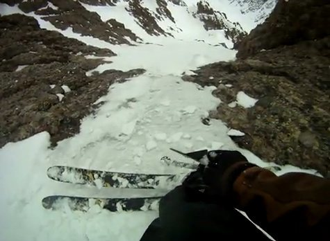 Rock Climbing Photo: A little ice in the ski line