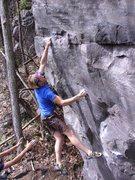 Rock Climbing Photo: Melin sticking the crux.