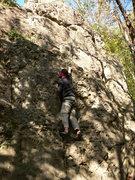 Rock Climbing Photo: Java- blindfolded