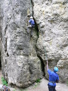 Rock Climbing Photo: Carl climbing the outside of second crack or Myrtl...