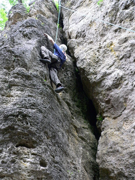 Rock Climbing Photo: looking up second crack