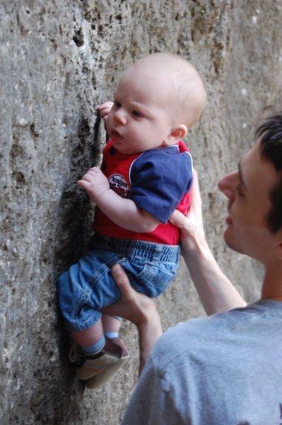 Micah Loves Climbing Already