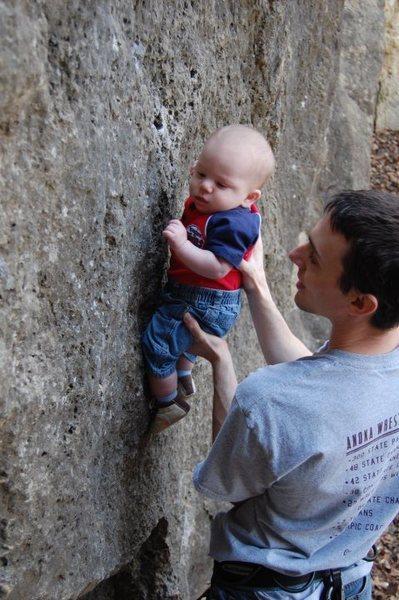 Rock Climbing Photo: Starting Micah Early
