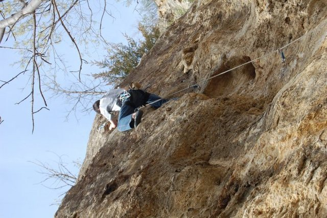 Rock Climbing Photo: me just befor slab crux of Pigeon Paranoia