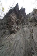 Rock Climbing Photo: the route goes up the corner between the two sharp...