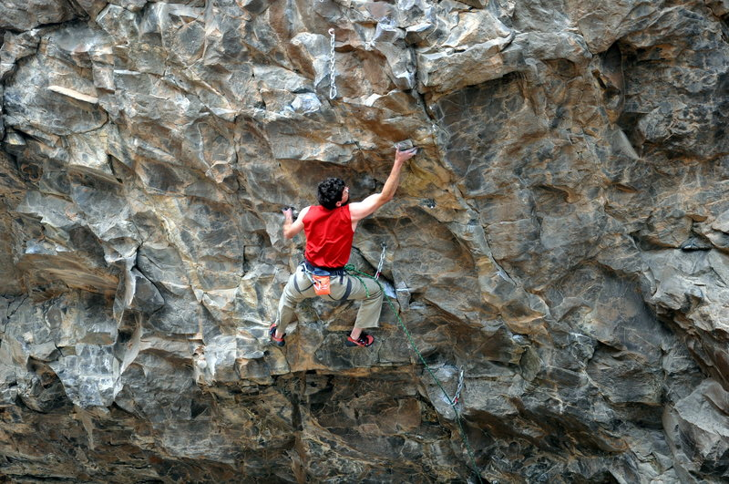 Rock Climbing Photo: James working through the difficult moves of Masto...