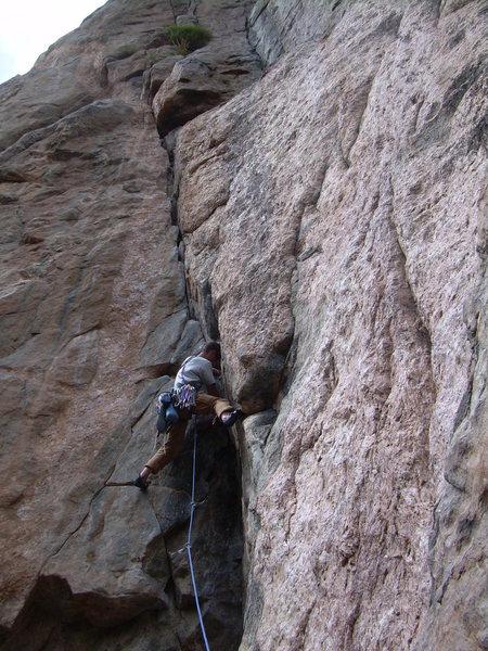 Rock Climbing Photo: Wyatt handles the crux pitch.