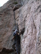 Rock Climbing Photo: Wyatt handles the crux pitch.