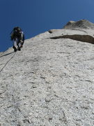 Rock Climbing Photo: Perin approaching the first bolt on P2.
