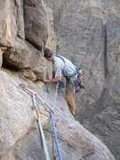 Rock Climbing Photo: Launching out across the 10th pitch traverse.