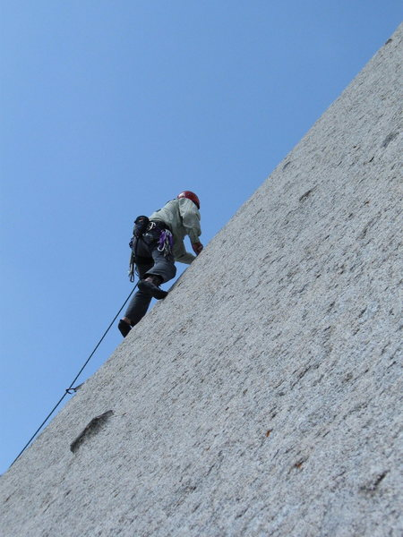 Rock Climbing Photo: Perin high up on P1.