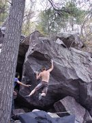 Rock Climbing Photo: Travis Melin sticking the first move.